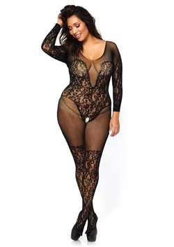Open Crotch Illusion Teddy Plus Size Bodystocking