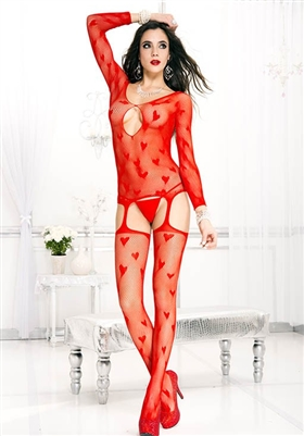 Heart And Fishnet Suspender Bodystocking