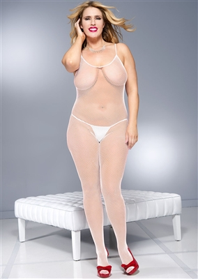 Plus Size Fishnet Crotchless Bodystocking With Lace Up Back