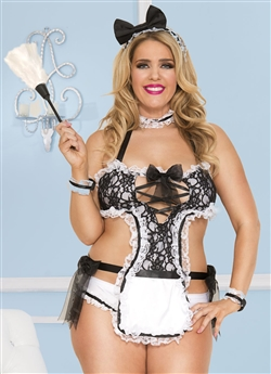 Plus Size Sensual French Maid 4 PC Costume