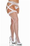 Plus Size Fishnet Stockings With Attached Criss Cross Garterbelt