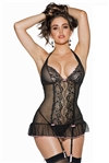 Gartered Mesh Soft 2 PC Chemise Set