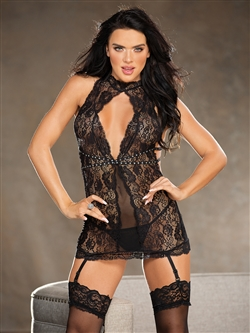 Shirley Of Hollywood Lace And Mesh Chemise Set