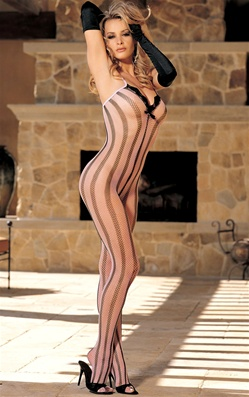 Pink Striped Fishnet Open Crotch Bodystocking