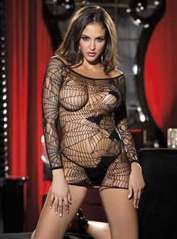 Mesh Chemise With Scattered Hearts