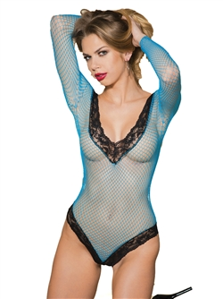Stretch Fishnet Long Sleeve Thong Back Teddy