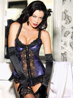 Satin Tapestry Flowered Jacquard Long-Line Bustier
