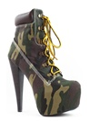 Camouflage Lace Up Platform Booties