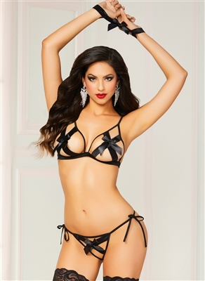 Satin Bows Open Crotch 3 PC Set