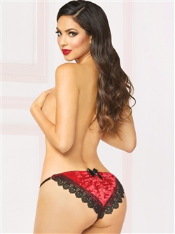 Sexy Crushed Velvet Bow Back Festive Panties