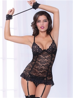 Romantic Lace Chemise 3 PC Set With Cuffs