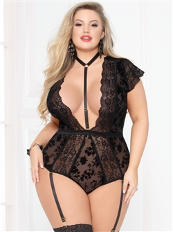 Slimming Sexy Plus Size Teddy With Harness