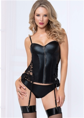 Lace And Pleather 2 PC Corset Set
