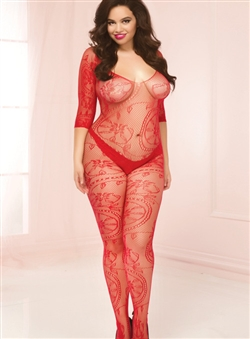 Plus Size Lace Open Crotch Bodystocking