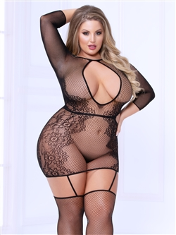 Plus Size Open Back Dress Bodystocking