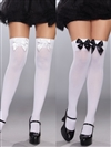Plus Size Opaque Stockings With 2 Sets of Bows