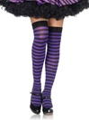 Nylon Striped Thigh High Stockings