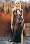Swirl Lace Long Dress And G-String Set
