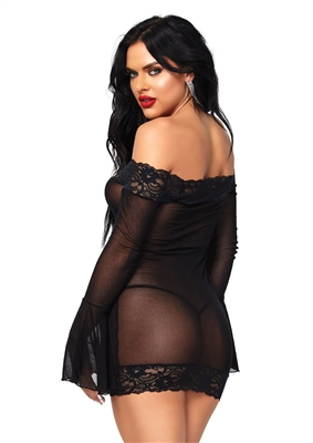 Chemise With Bell Sleeves And G-String