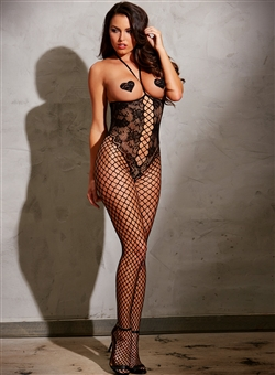 Open Top And Open Crotch Fishnet Bodystocking