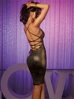 Stretch Jersey Lace Up Back Sexy Dress