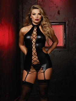 Sexy Fetish Lace Up Garter Slip Set