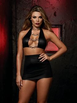 Sexy Strappy Back Crop Top Skirt Set