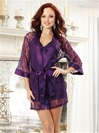 Sultry Lace Robe And Satin Charmeuse Babydoll 2 PC Set