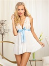 Bridal Pleated Babydoll And Open Back Bow Panty