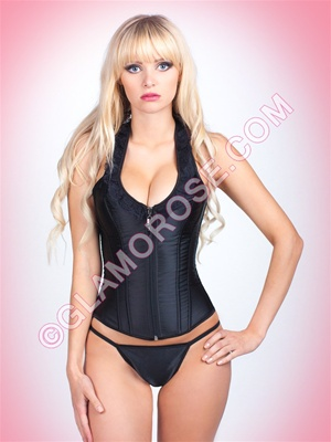 Halter Zipper Front 2 PC Corset Set