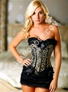 Animal Print Lace Up Corset With Skirt
