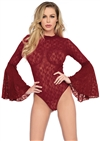 Bell Sleeve  Sexy Lace Snap Crotch Bodysuit
