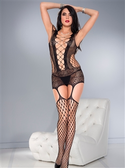 Sexy Lace And Net Dress With Attached Stockings