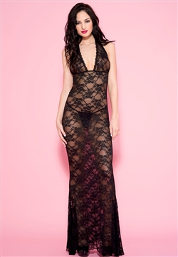 Slimming Lace Halter Gown