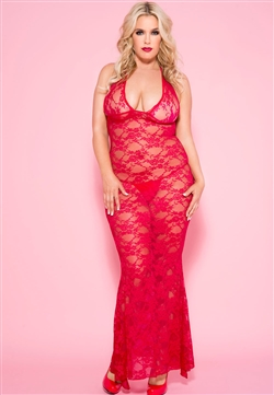 Slimming Lace Halter Plus Size Gown