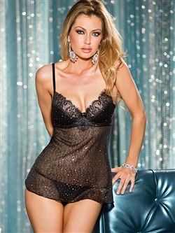 All Over Sequined  Underwire Babydoll Set