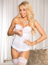 Lace Trimmed Corset Top with Zipper Front