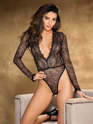 Shirley Of Hollywood Lace Long Sleeved Teddy