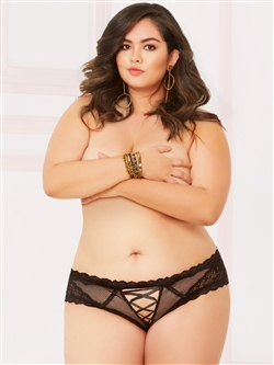 Lace Up Front Plus Size Panties With Keyholes Back