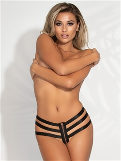 Strappy Open Crotch Thong Panties With Zipper Front